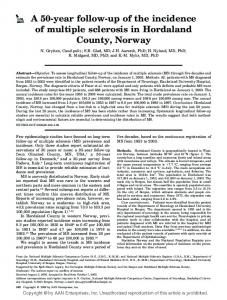 A 50-year follow-up of the incidence of multiple sclerosis in Hordaland County, Norway