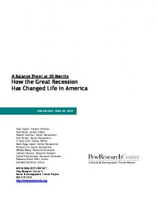 A Balance Sheet at 30 Months How the Great Recession Has Changed Life in America