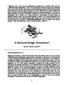 A Balanced Budget Amendment?