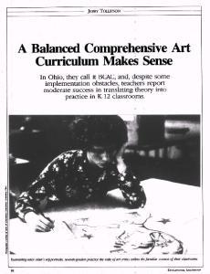 A Balanced Comprehensive Art Curriculum Makes Sense