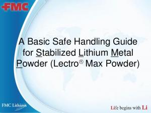 A Basic Safe Handling Guide for Stabilized Lithium Metal Powder (Lectro Max Powder)