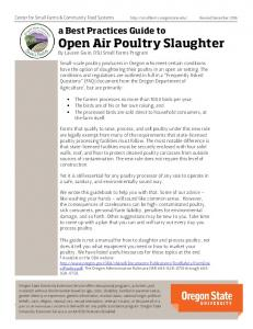 a Best Practices Guide to Open Air Poultry Slaughter By Lauren Gwin, OSU Small Farms Program