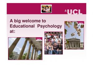 A big welcome to Educational Psychology at: