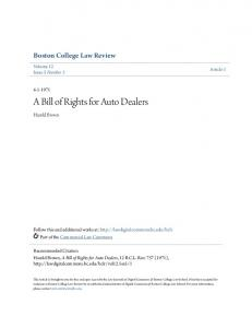 A Bill of Rights for Auto Dealers
