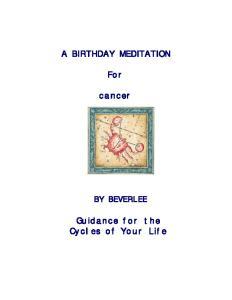 A BIRTHDAY MEDITATION. For. cancer