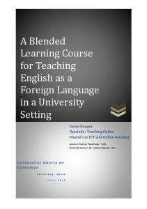 A Blended Learning Course for Teaching English as a Foreign Language in a University Setting
