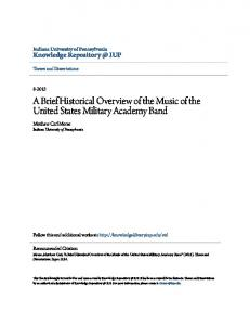 A Brief Historical Overview of the Music of the United States Military Academy Band