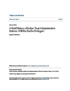 A Brief History of Indian Trust Administration Reform: Will the Past be Prologue?