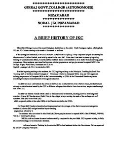 A BRIEF HISTORY OF JKC