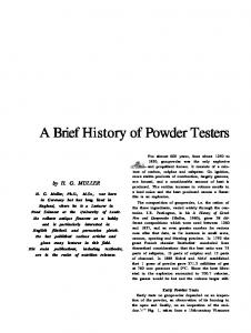A Brief History of Powder Testers