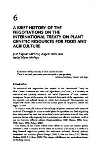 A BRIEF HISTORY OF THE NEGOTIATIONS ON THE INTERNATIONAL TREATY ON PLANT GENETIC RESOURCES FOR FOOD AND AGRICULTURE