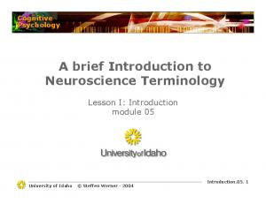 A brief Introduction to Neuroscience Terminology