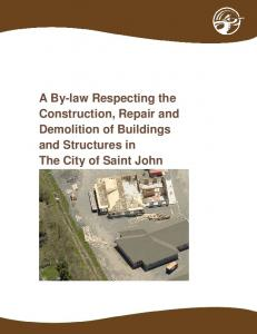 A By-law Respecting the Construction, Repair and Demolition of Buildings and Structures in The City of Saint John