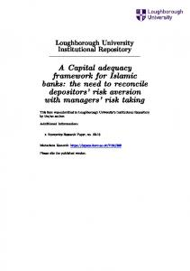 A Capital adequacy framework for Islamic banks: the need to reconcile depositors' risk aversion with managers' risk taking