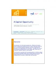 A Capital Opportunity