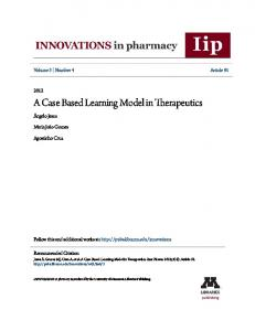 A Case Based Learning Model in Therapeutics