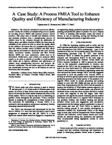 A Case Study: A Process FMEA Tool to Enhance Quality and Efficiency of Manufacturing Industry