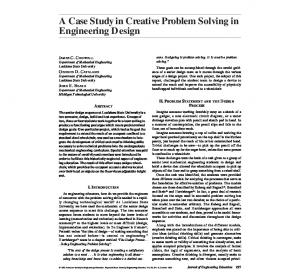 A Case Study in Creative Problem Solving in Engineering Design