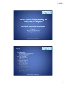 A Case Study in Implementing an Effective CSV Program
