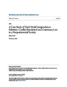 A Case Study of Third World Jurisprudence - Palestine: Conflict Resolution and Customary Law in a Neopatrimonial Society
