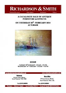 A CATALOGUE SALE OF ANTIQUE FURNITURE & EFFECTS ON THURSDAY 20th FEBRUARY 2014 AT 9.30AM ON VIEW