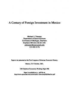 A Century of Foreign Investment in Mexico