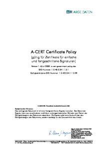 A-CERT Certificate Policy