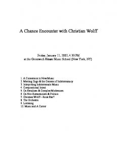 A Chance Encounter with Christian Wolff
