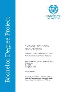 A CHECKLIST FOR PLASTIC PRODUCT DESIGN