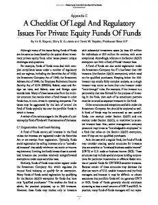 A Checklist Of Legal And Regulatory Issues For Private Equity Funds Of Funds