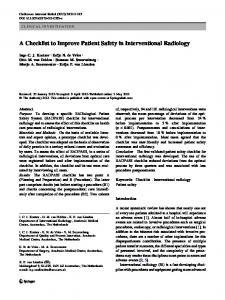 A Checklist to Improve Patient Safety in Interventional Radiology