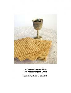 A Christian Passover Seder The Passover of Jesus Christ