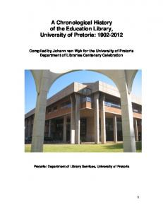 A Chronological History of the Education Library, University of Pretoria: