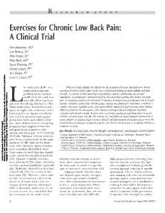 A Clinical Trial. Exercises for Chronic Low Back Pain: