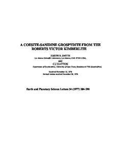 A COESITE-SANIDINE GROSPYDITE FROM THE ROBERTS VICTOR KIMBERLITE