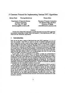 A Common Protocol for Implementing Various DHT Algorithms