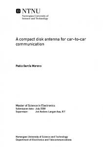 A compact disk antenna for car-to-car communication