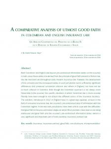A comparative analysis of utmost good faith