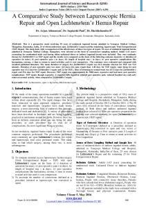 A Comparative Study between Laparoscopic Hernia Repair and Open Lichtenstein s Hernia Repair