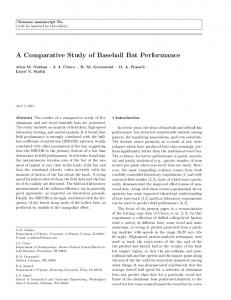 A Comparative Study of Baseball Bat Performance