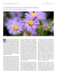 A Comparative Study of Cultivated Asters Richard G. Hawke, Plant Evaluation Manager