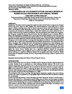 A COMPARISON OF ATTACHMENT STYLES AND SELF-ESTEEM IN WOMEN FILING FOR DIVORCE AND NORMAL WOMEN