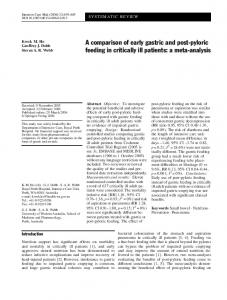A comparison of early gastric and post-pyloric feeding in critically ill patients: a meta-analysis
