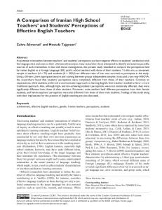 A Comparison of Iranian High School Teachers and Students Perceptions of Effective English Teachers
