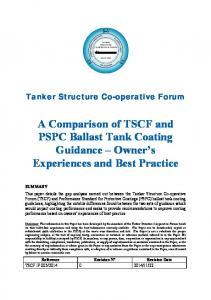A Comparison of TSCF and PSPC Ballast Tank Coating Guidance Owner s Experiences and Best Practice