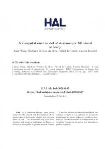 A computational model of stereoscopic 3D visual saliency