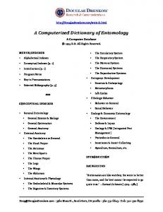 A Computerized Dictionary of Entomology