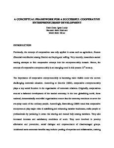 A CONCEPTUAL FRAMEWORK FOR A SUCCESSFUL COOPERATIVE ENTREPRENEURSHIP DEVELOPMENT