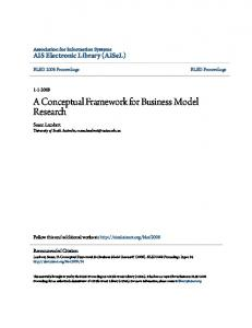 A Conceptual Framework for Business Model Research