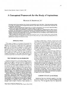 A Conceptual Framework for the Study of Aspirations